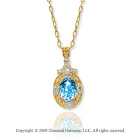 14k Yellow Gold Vintage Style Blue Topaz Diamond Necklace