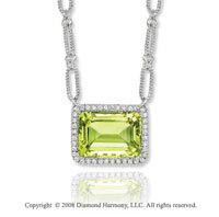 14k White Gold 15 Carat Lime Quartz 0.45 Carat Diamond Necklace