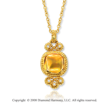 14k Yellow Gold Vintage Style Citrine Diamond Necklace