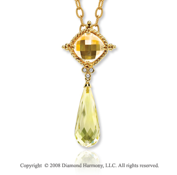 14k Yellow Gold Citrine, Lime Quartz, Diamond Necklace