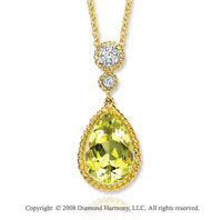 14k Yellow Gold 5.30 Carat Lime Quartz 1/4 Carat Diamond Necklace