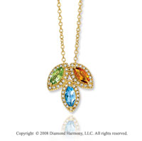 Fabulous 14k Yellow Gold Multi Gemstone Diamond Necklace