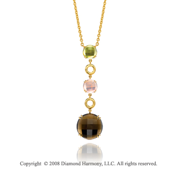 14k Yellow Gold Unique Multi Gemstone Diamond Necklace