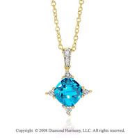 14k Yellow Gold Gorgeous 3.60 Carat Blue Topaz Diamond Necklace