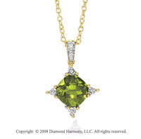 14k Yellow Gold Gorgeous 3.45 Carat Peridot Diamond Necklace