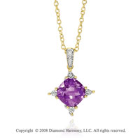 14k Yellow Gold Gorgeous 2.70 Carat Amethyst Diamond Necklace