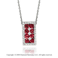 14k White Gold Simply Elegant Ruby Diamond Necklace