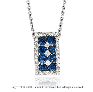 14k White Gold Simply Elegant Sapphire Diamond Necklace