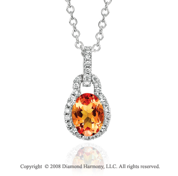 14k White Gold  Elegant 1.25 Carat Citrine Diamond  Necklace