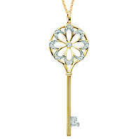 14k Yellow Gold 1/5 Carat Diamond Flower Key Pendant