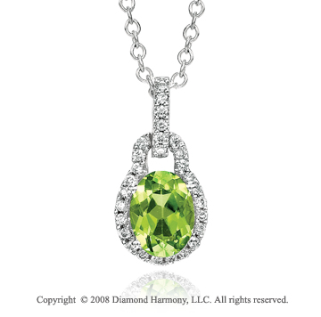 14k White Gold  Elegant 1.35 Carat Peridot Diamond  Necklace