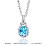14k White Gold  Elegant 1.60 Carat Blue Topaz Diamond  Necklace