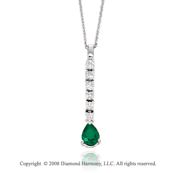 14k White Gold Simply Elegant Emerald Diamond Necklace