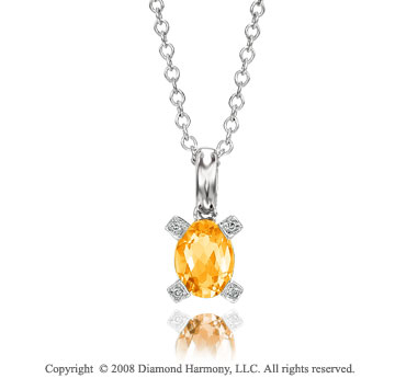 14k White Gold 1 1/4 Carat Citrine Diamond Necklace
