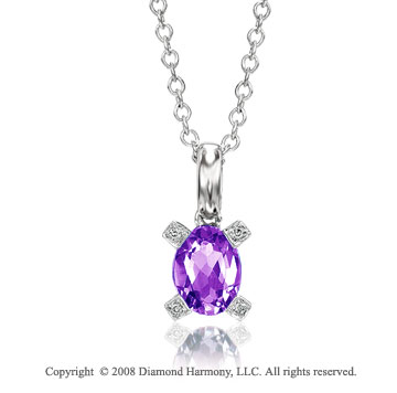 14k White Gold 1 1/4 Carat Amethyst Diamond Necklace