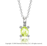 14k White Gold 1 1/4 Carat Peridot Diamond Necklace