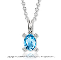 14k White Gold 1.60 Carat Blue Topaz Diamond Necklace