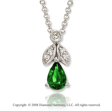 14k White Gold Vintage Style 0.45 Carat Emerald Diamond Necklace
