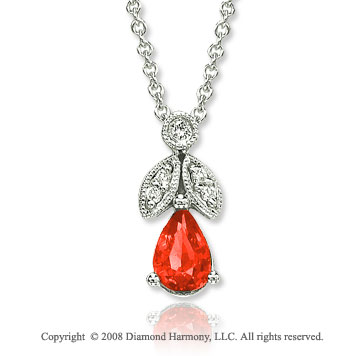 14k White Gold Vintage Style 0.47 Carat Ruby Diamond Necklace