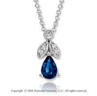 14k White Gold Vintage Style 1/2 Carat Sapphire Diamond Necklace