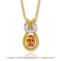 14k Yellow Gold Fabulous 3/4 Carat Citrine Diamond Necklace