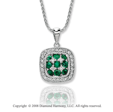 14k White Gold Fabulous 1/4 Carat Diamond Emerald Necklace