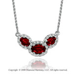 14k White Gold Elegant 1 Carat Ruby Diamond Necklace