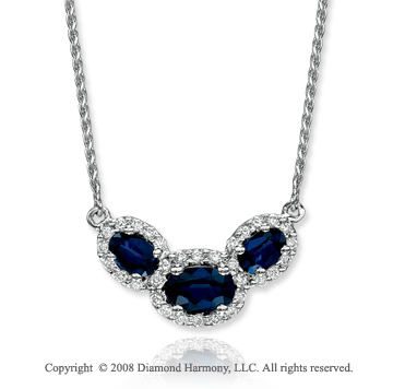 14k White Gold Elegant 1.10 Carat Blue Sapphire Diamond Necklace