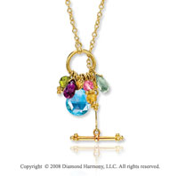 14k Yellow Gold Fabulous Multi Gemstone Necklace