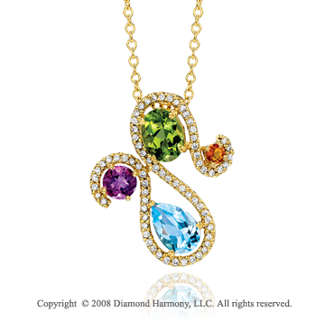 14k Yellow Gold Artistic Multi Gem 1/3 Carat Diamond Necklace
