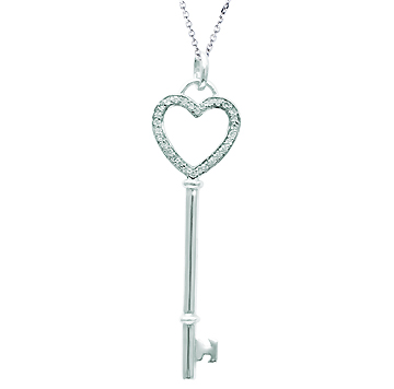 14k White Gold 1/10 Carat Diamond Heart Key Pendant