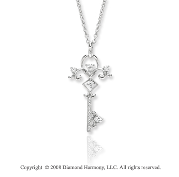 14k White Gold 1/3 Carat Diamond Key Pendant