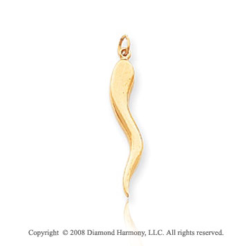 14k Solid Yellow Gold Large Italian Horn Pendant