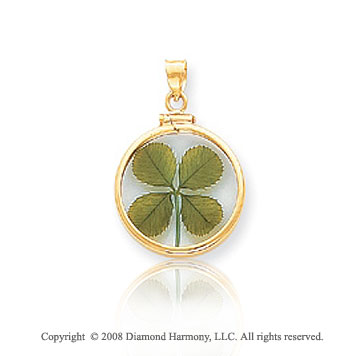 14k Yellow Gold 4-Leaf Clover Pendant
