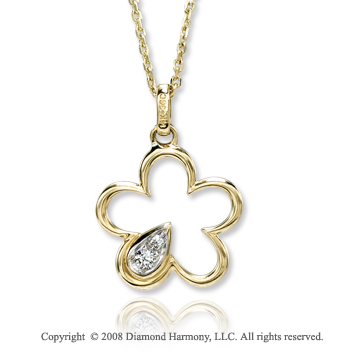 14k Yellow Gold Flower Diamond Necklace