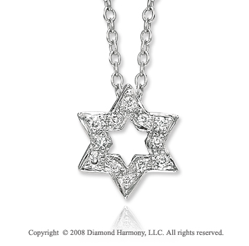 14k White Gold Star of David Diamond Necklace