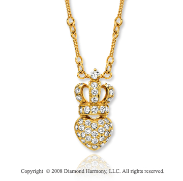 14k Yellow Gold Crowned Heart 1/2 Carat Diamond Necklace