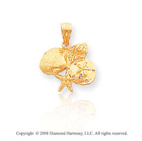 14k Yellow Gold Unique Shell Cluster Starfish Pendant