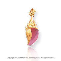 14k Yellow Gold Fine Conch Shell Enameled Pendant