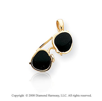14k Yellow Gold Stylish Enameled Sunglasses Pendant