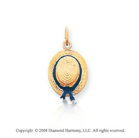 14k Yellow Gold Stylish Rope Enameled Hat Pendant