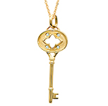 14k Yellow Gold 1/20 Carat Diamond Clover Key Pendant