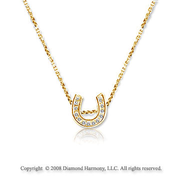 Mini 14k Yellow Gold Diamond Lucky Horseshoe Pendant