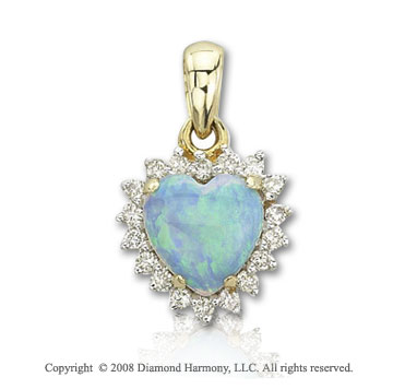 14k Yellow Gold Heart Shaped Opal 0.15 Carat Diamond Pendant