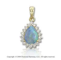 14k Yellow Gold Pear Shaped Opal 0.20 Carat Diamond Pendant