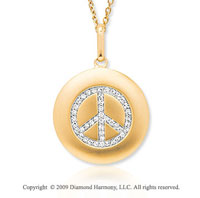14k Yellow Gold 1/6 Carat Diamond Peace Sign Disk Pendant