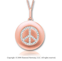 14k Rose Gold Diamond Peace Sign Disk Pendant