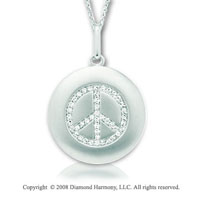 14k White Gold Diamond Peace Sign Disk Pendant