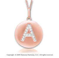 14k Rose Gold Diamond Initial  A Disk Pendant