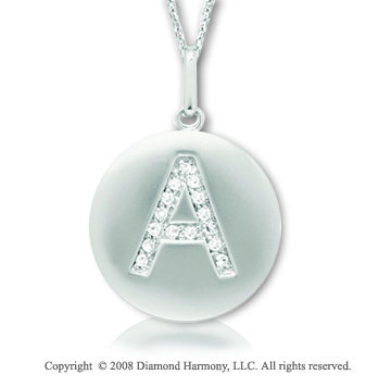 14k White Gold Diamond Initial  A Disk Pendant